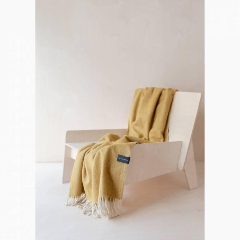 Recycled Wool Knee Blanket In Mustard Herringbone