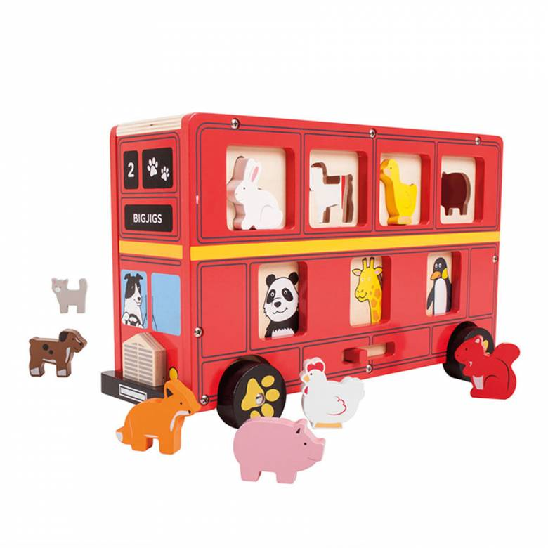 Red Bus Wooden Animal Shape Sorter 18m+