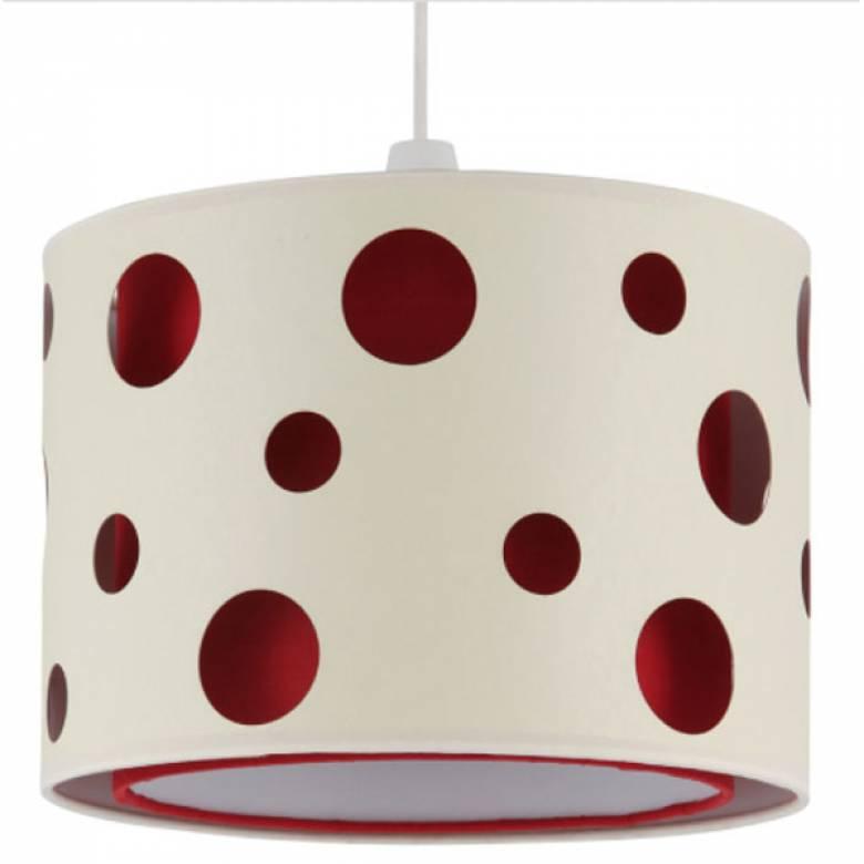 Fabric Drum Lampshade Circles ( red inner ) 30x21cm