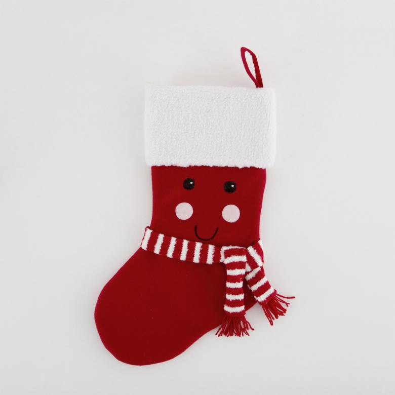 Red Kawaii Happy Face Christmas Stocking