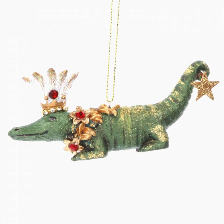 Resin Crocodile Christmas Decoration