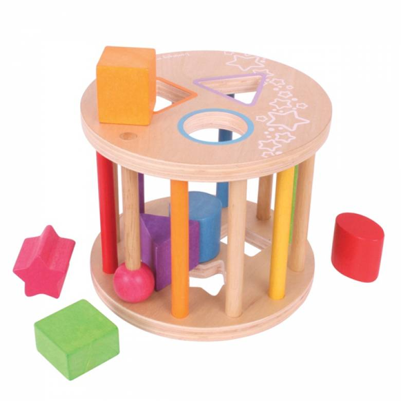 Traditional Wooden Rolling Sorter with Coloured Shapes 12mth+