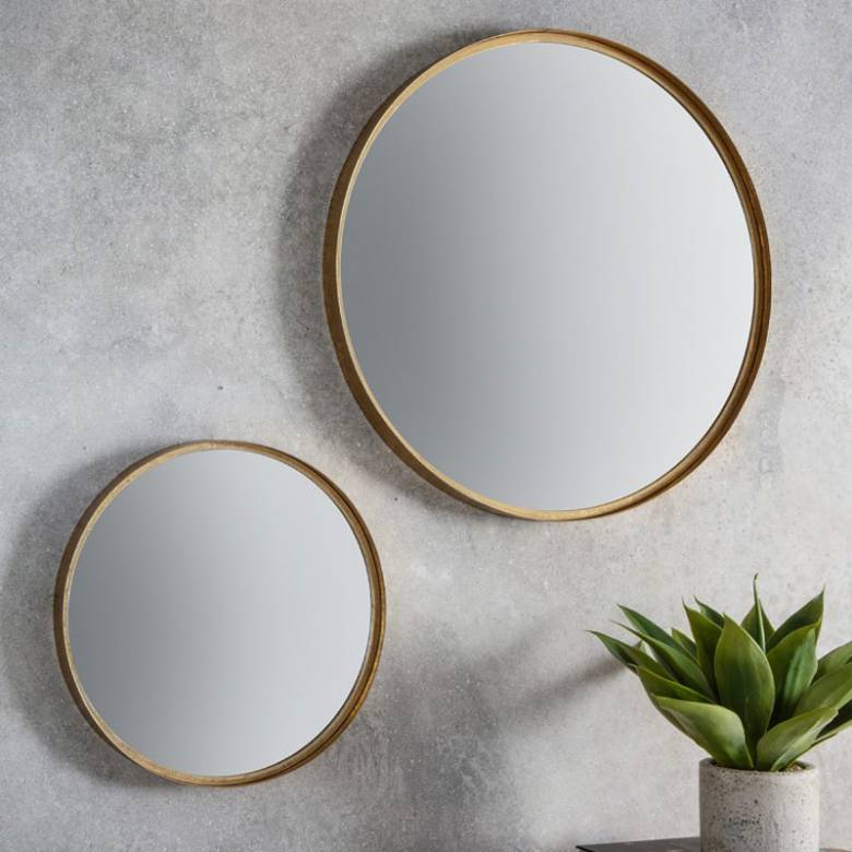 Round Metal Gold Leaf Effect Mirror 61cm x 61cm