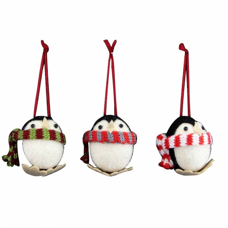 Round Penguin With Scarf Wool Christmas Decoration
