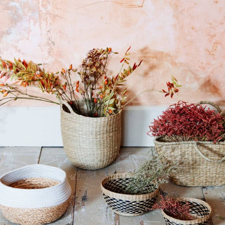 Rounded Woven Seagrass Basket With Handles H:37.5cm