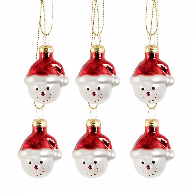 Set Of 6 Mini Snowman Head Santa Hat Glass Decorations