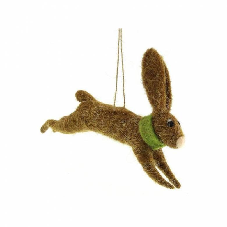 Running Hare Felt Hanging Christmas Decoration