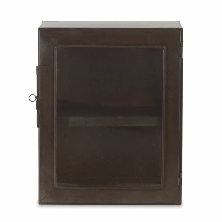 Small Glazed Metal Cabinet Rust Colour Finish 39cm