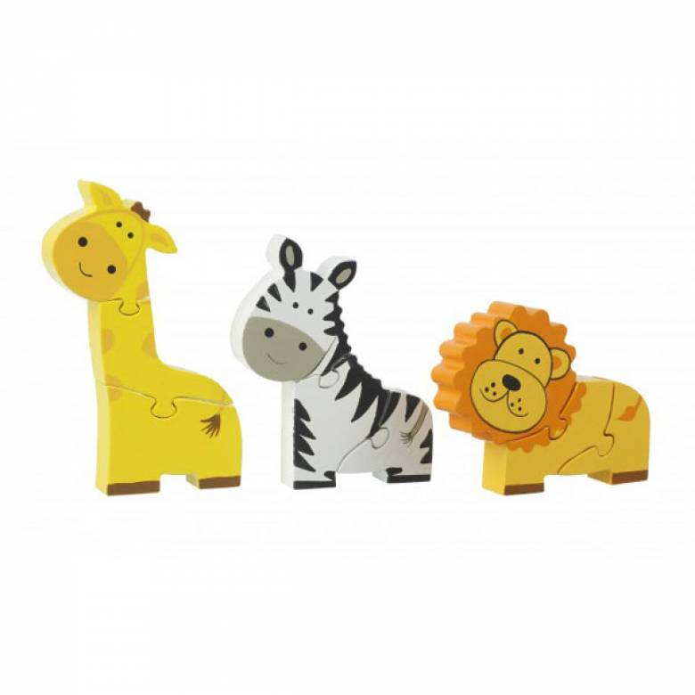 Safari Mini Puzzles - Set Of 3 Wooden Puzzles 1+