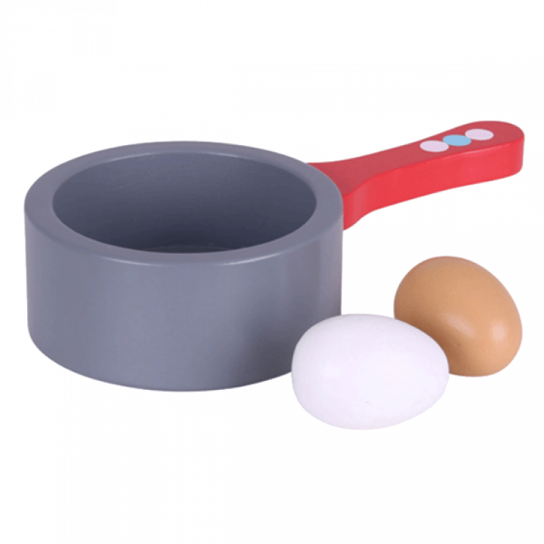 Grey Saucepan with Boiled Eggs Set Wooden Food 3+