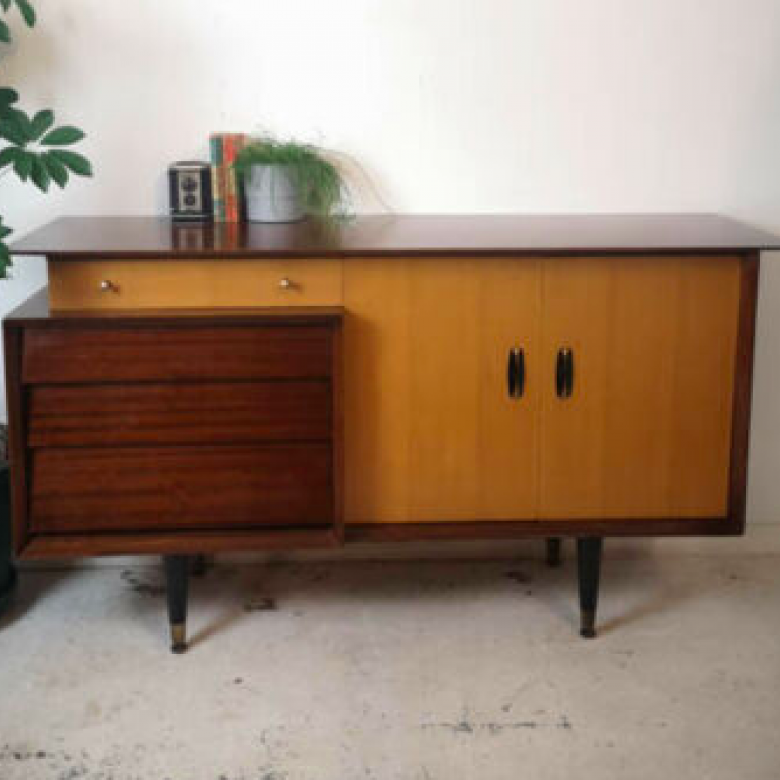 Mid Century Sideboard With Cupboard 5 Drawers (3 offset)