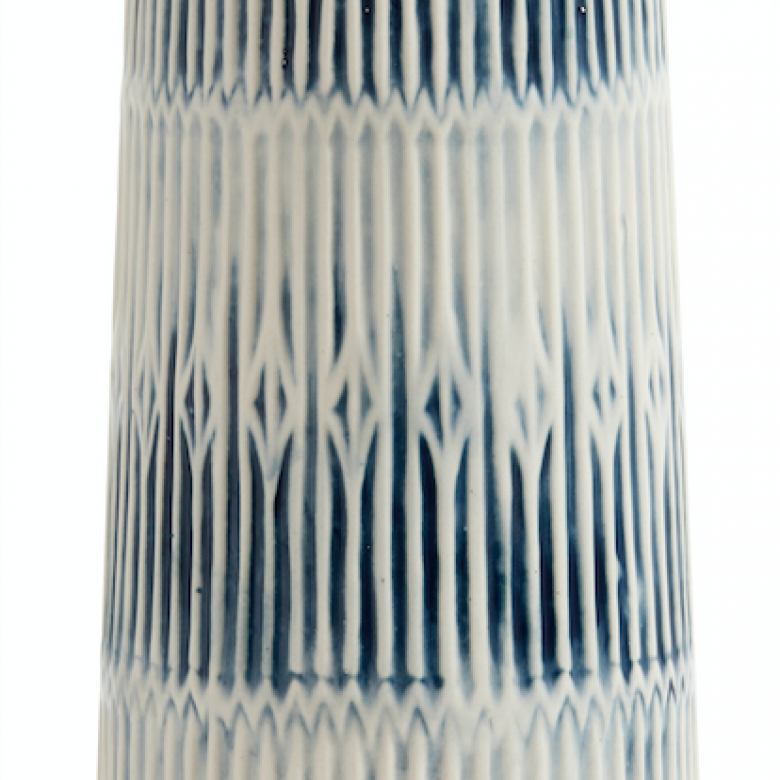 Tall Blue And White Slim Tapered Vase