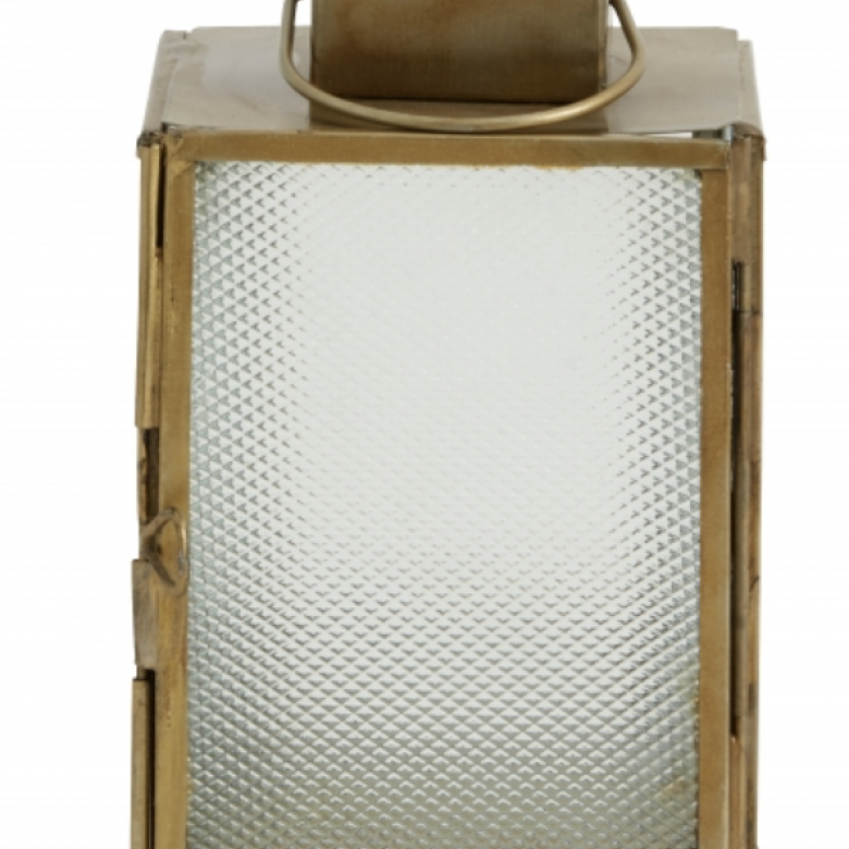Small Brass Lantern With Frosted Glass