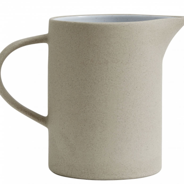 Large Beige Stoneware Pitcher Jug
