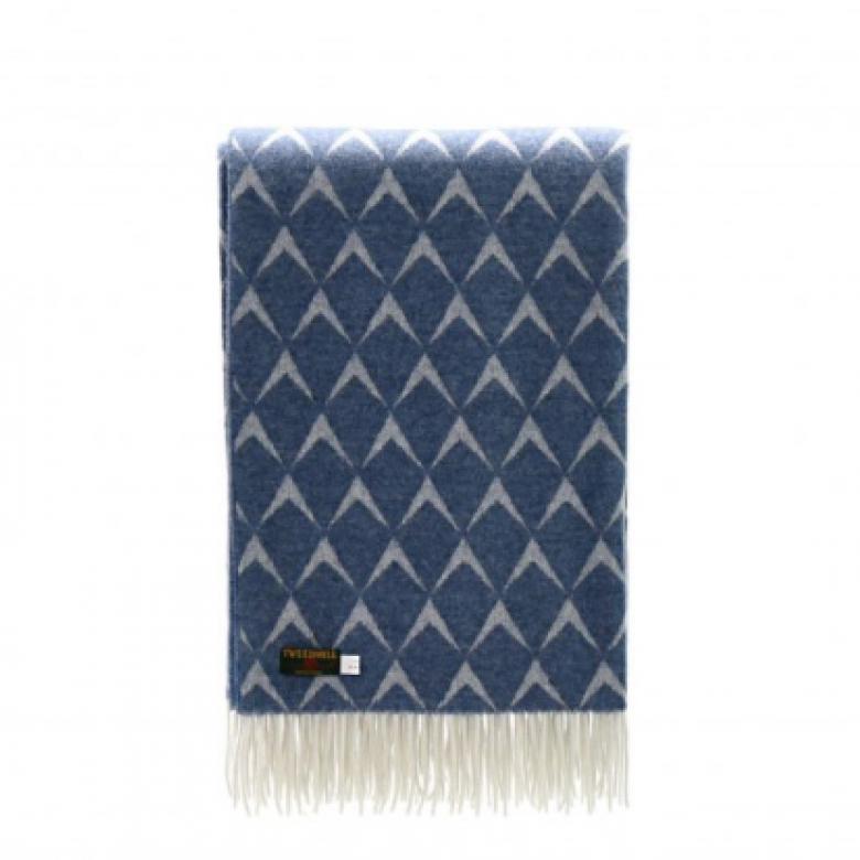Merino Wool Coastal Penrhos Blue Blanket 140x180cm