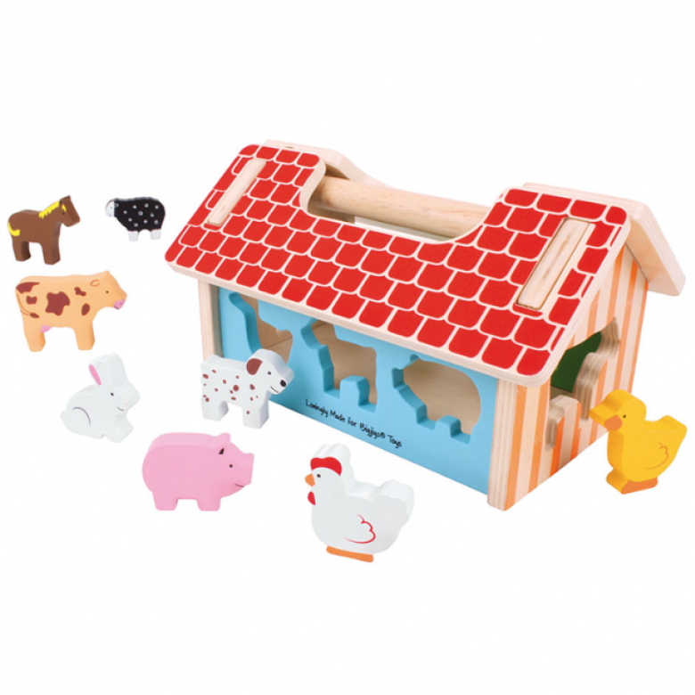 Wooden Farm House Shape Sorter