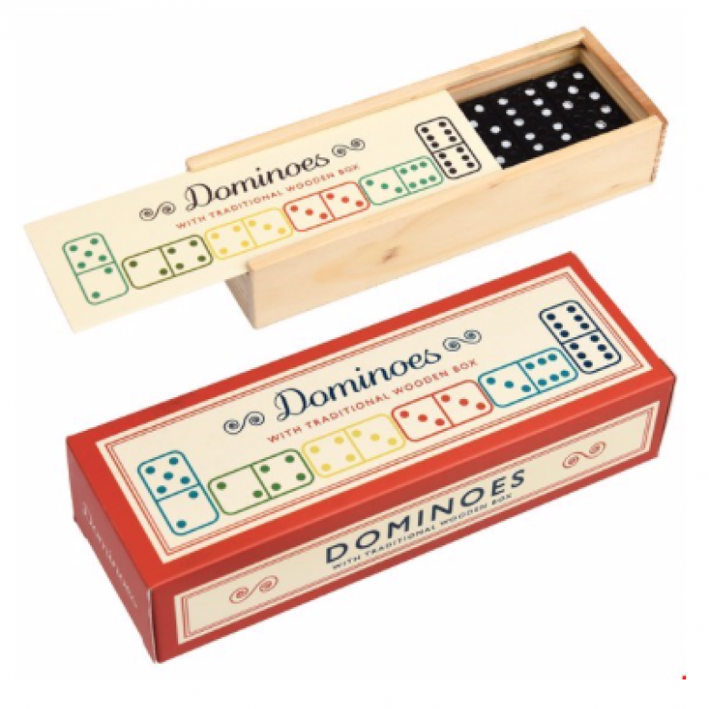 Wooden Dominoes In Slide Box