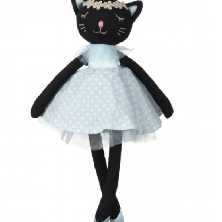 Black Cat Soft Toy With Blue Dot Dress