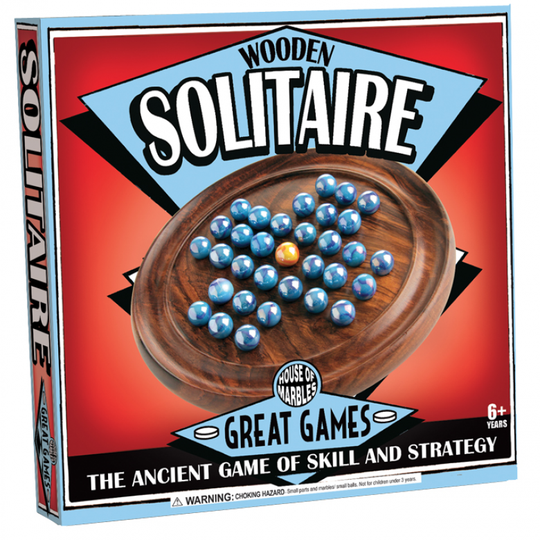 Solitaire Wooden Game With Marbles