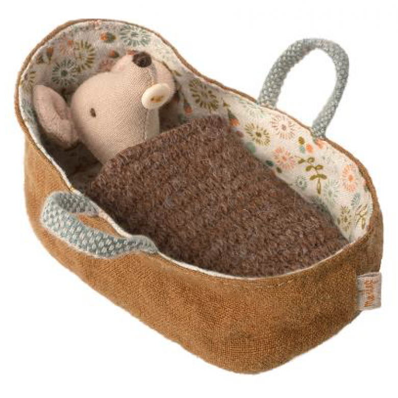 Maileg Baby mouse in carrycot Soft Toy
