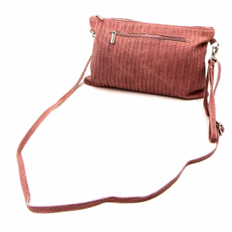 Leather Woven Crossbody Handbag - Blush
