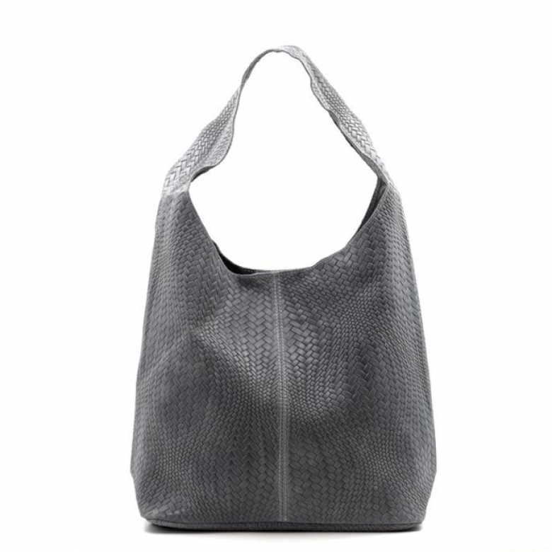 Leather Woven Large Handbag - Dark Grey