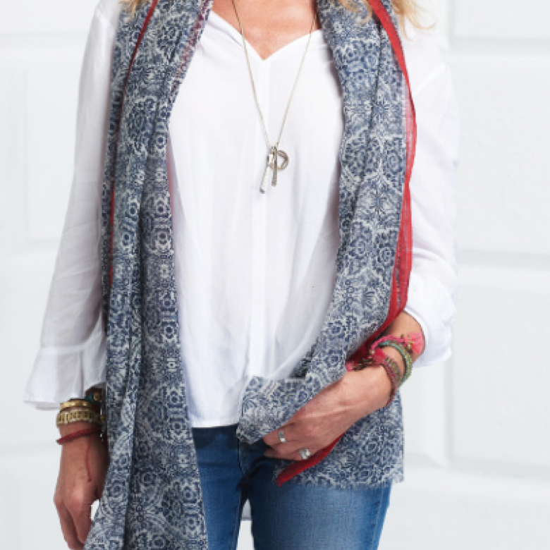 Navy Damask Print Wool Scarf By Jo Edwards