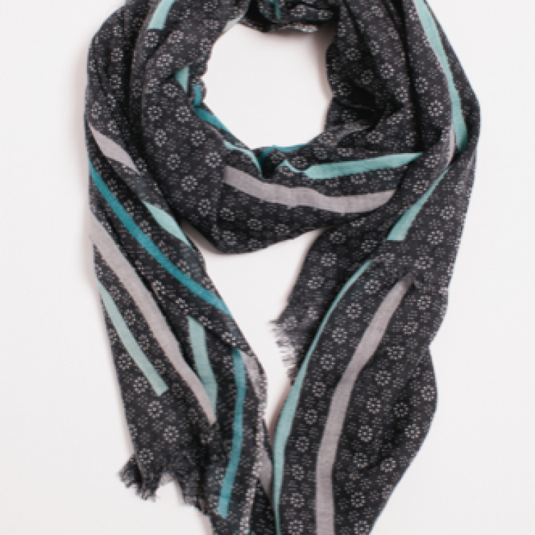 Opium Teal Wool Scarf By Jo Edwards
