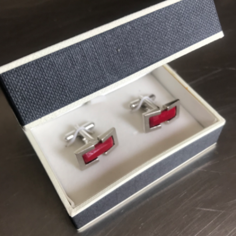 Vintage 1980s Satin Chrome Oblong Cufflinks With Red Glass