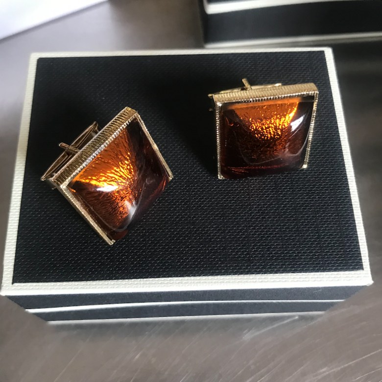 Vintage 1960s Gold Plated Cufflinks With Orange Venetian Glass