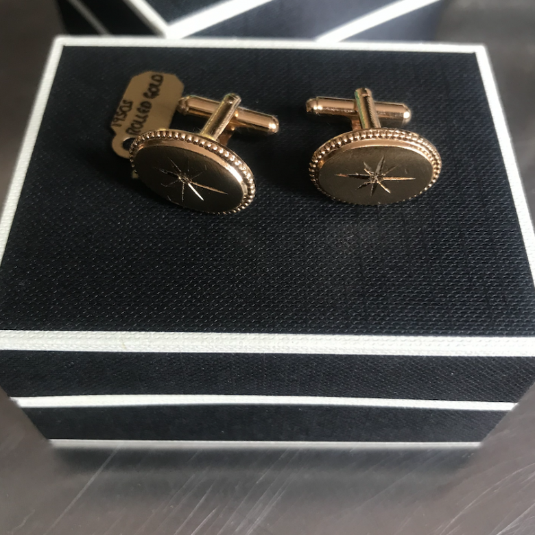 Vintage 1950s Oval Rolled Gold Cufflinks