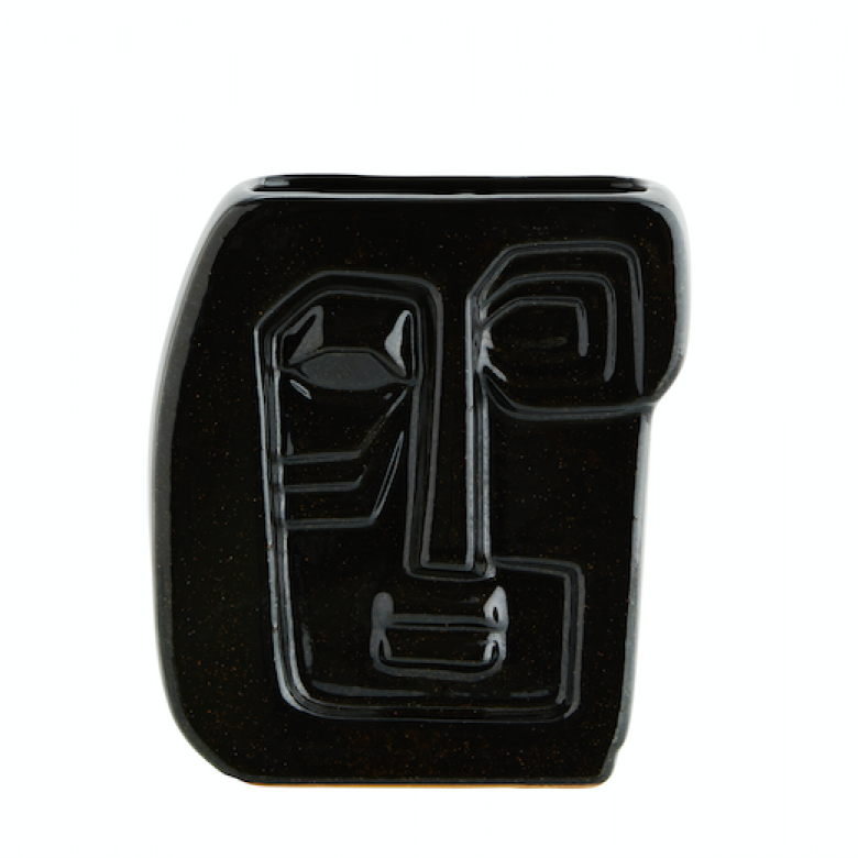 Black Embossed Cubic Face Vase