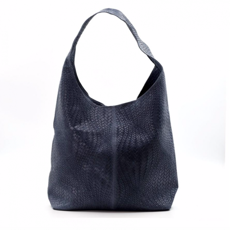 Leather Woven Large Handbag - Blue