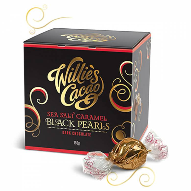 Sea Salt Caramel Black Pearls Dark Chocolate Willie's Cacao 150g