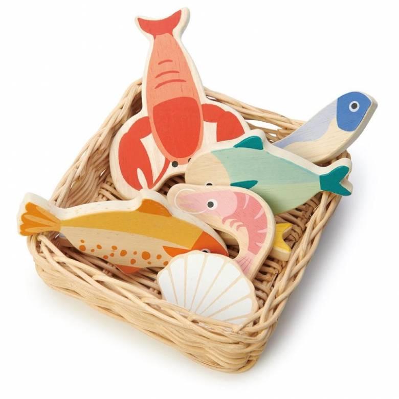 Seafood Basket Wooden Play Food Set 3+