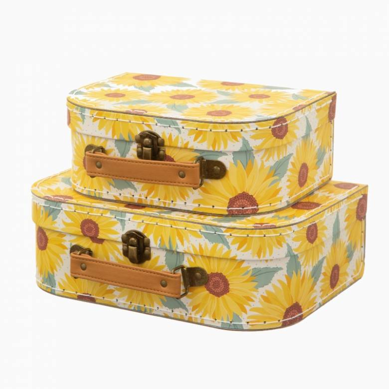 Set Of 2 Cardboard Suitcases In Sunflower Print
