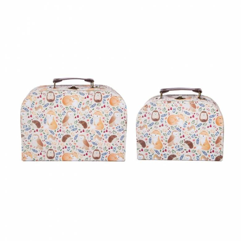 Set Of 2 Cardboard Suitcases In Woodland Animals Print