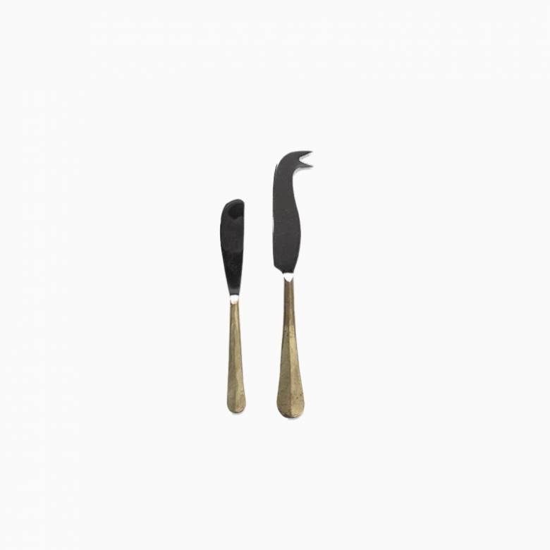 Set Of 2 Cheese & Butter Knife Set In Brushed Gold