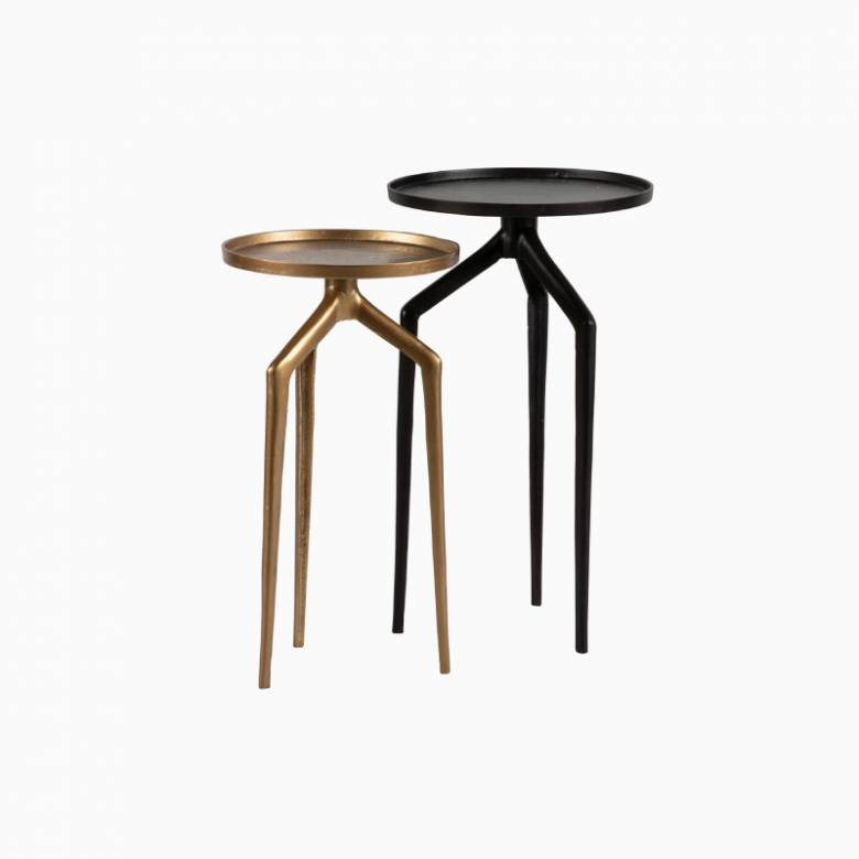 Set Of 2 Mosquito Metal Side Tables - Black & Gold