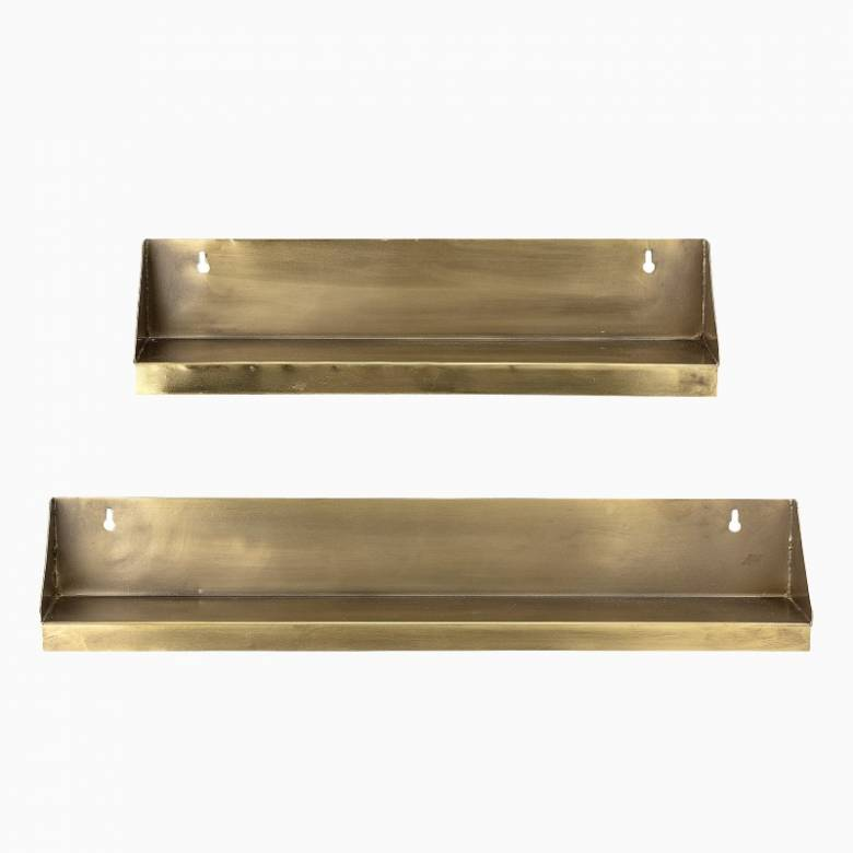Set Of 2 Slim Brass Shelves