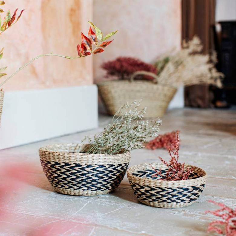 Set Of 2 Woven Seagrass Chevron Patterned Bowls