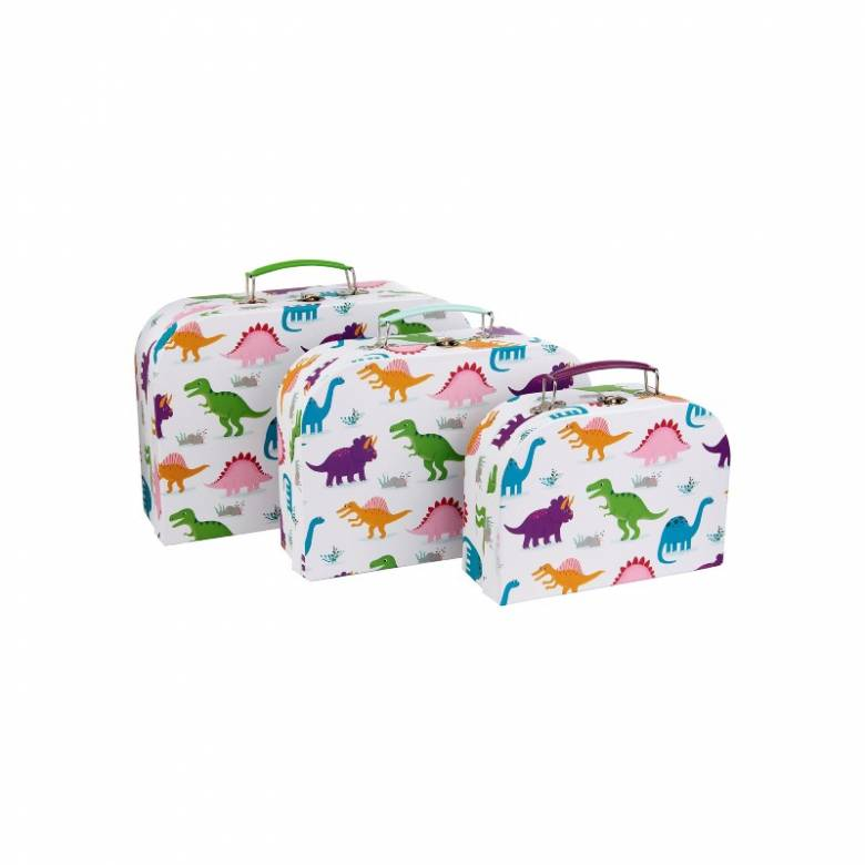 Set Of 3 Colourful Dinosaurs Printed Cardboard Suitcases