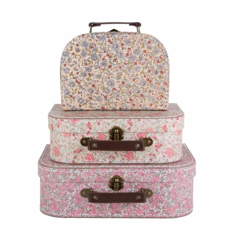 Set Of 3 Floral Printed Cardboard Suitcases