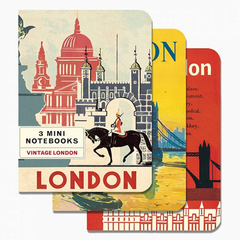 Set Of 3 Mini Notebooks - Vintage London