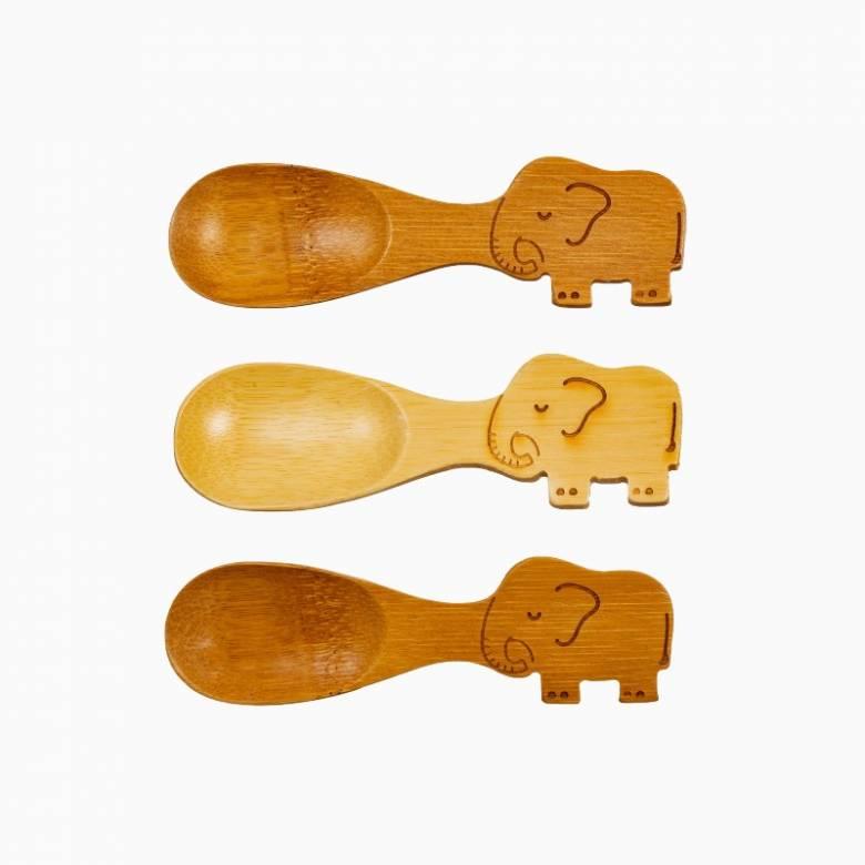 Set Of 3 Small Elephant Shaped Bamboo Spoon