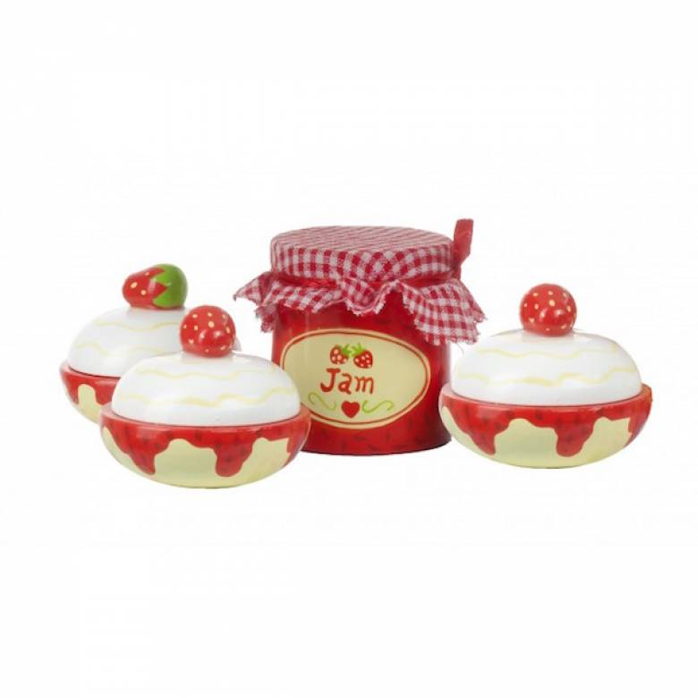 Set Of 3 Wooden Scones And Jam By Orange Tree 3+