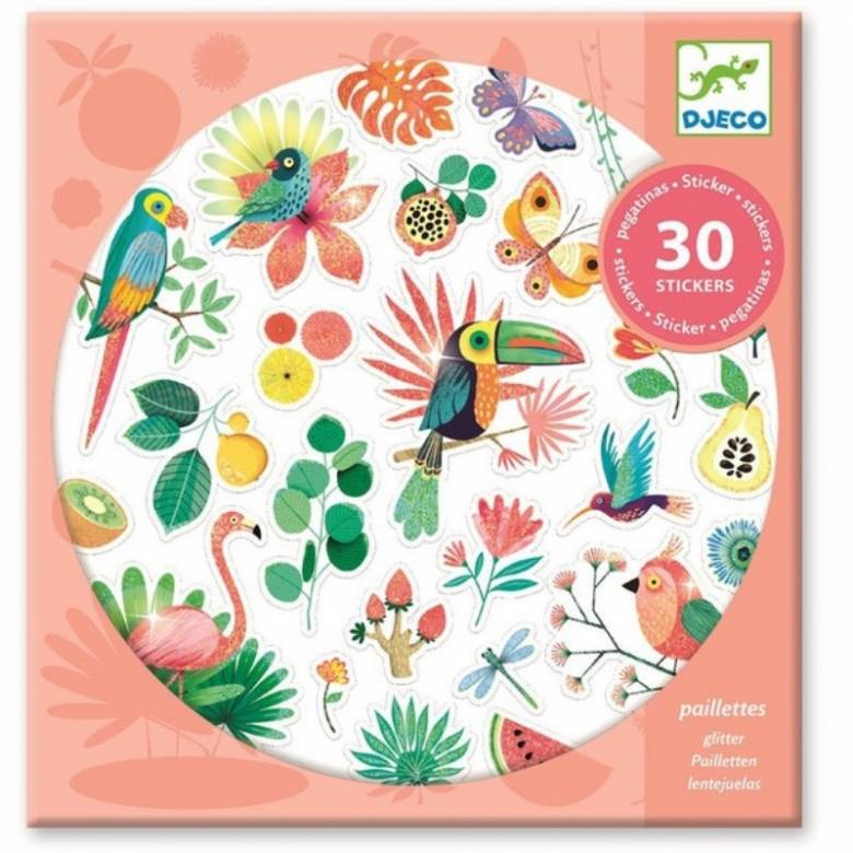 Set Of 30 Glitter Paradise Stickers By Djeco 4+
