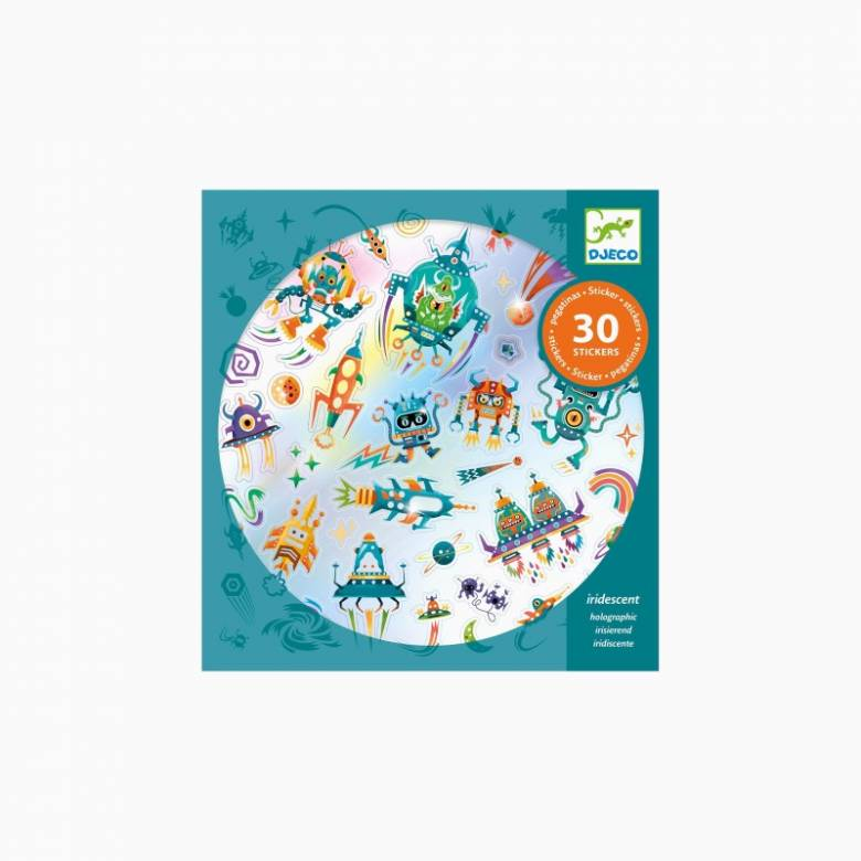Set Of 30 Holographic Intergalactic Stickers By Djeco 4+