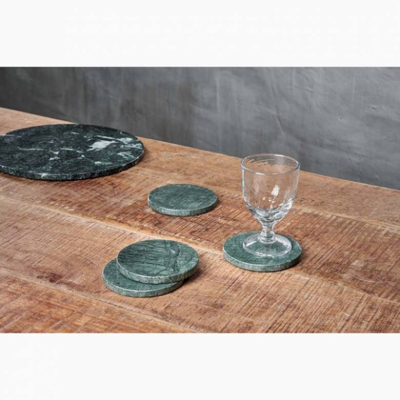 Set Of 4 Circular Solid Green Marble Coasters