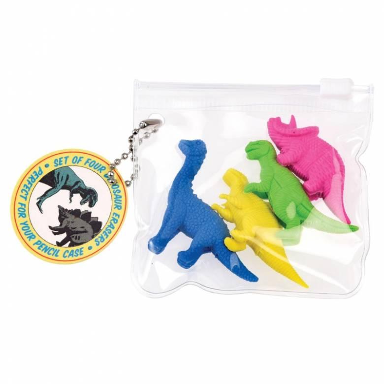 Set Of 4 Dinosaur Erasers